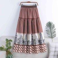 Весна осенние женские эластичные талии повседневные Pathwork Parts Print Mid-Calf Свободные плиссированные A-Line Skirt 210427
