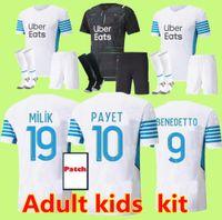 Uomini Bambini Soccer Jersey Olympique de 21 OM 2021 Marseille Foot Cuisisking Thauvin Benedetto Kamara Payet Camicie da calcio