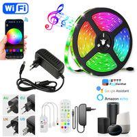 LED Strip Light 5M 10m 15m 20m 5050 DC12V Multicolor Wift Bluetooth med appkontroll Musik Synkronisering AC100-240V Adapter HDTV TV-skrivbordsskärm Bakgrunds-Eub
