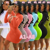 Mulheres Vestidos Designer Sexy Slim Longa e Curta Manga Casual Zipper Vestido de Cor Sólida Sala de quadril Plus Size Múltiplas Cores 70 Estilos