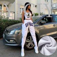 여성용 바지 카프리스 화이트 트랙 편지 인쇄 Streetwear Sweatpants 여성 하이 허리 Drawstring 댄스 브리핑 Broek