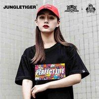 Tiger Tide Street Graffiti Jungrafit camiseta de gran tamaño personalidad coreano manga corta manga para hombres y mujeres XQ05