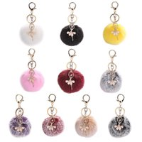 Bag Parts & Accessories Women Girls Faux Fur Plush Pom Ball Keychain With Glitter Rhinestone Crystal Ballet Dancer Pendant Charm Jewelry Key