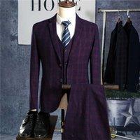 Blazers + брюки + комплект жилет / мужская деловая вечеринка повседневная мода три части клетки куртка куртка брюки жилет