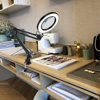 Lámparas de mesa 8W USB LED 3 colores Lámpara de lupa Dimagen Luz de lectura con 5x Gran lupa de lupa Belleza