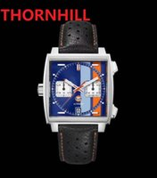 Square Dial Designer Mens Watch 40mm Waterproof Leather Strap Quartz Chronograph Blue Gulf Racing Sapphire Special Edition Watches