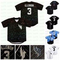 Sänger Illenium # 3 Baseball Jersey Button Down Hip Hop Männer Frauen Jugend Schwarz Weiß Blau