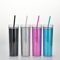 Plastic Straw Mug Double Deck Cups Drink Water Cup 450ml fashion Laser Straight Body Tumblers 15 68mg Q2
