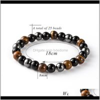 Beaded, Strands Bracelets Drop Delivery 2021 100Pcs Natural Hematite Stone Tiger Eye Beaded Strand Wrap Buddha Bracelets&Bangles Jewelry Aess