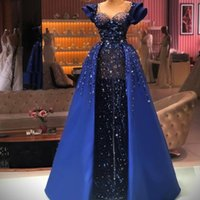 Chic Blue Prom Dresses with Over Skirt See Thru Sequins Lace Applique Evening Gowns Cap Sleeve Party Pageant Dress