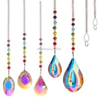 Rainbow Water Drop Shell Shape beads Ornament Pendant Home Decor Gift Window Wall Hanging Crystals Chakra Garden decoration