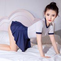 Sexy See durch Bodysuit mit Rock Set Frauen Mädchen Anime Cosplay Kostüm Japanisch Schulmädchen Jubeln Führende Rollenspiele Uniform Frauen Tracks