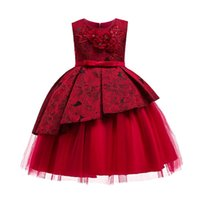 Girl's Dresses Noble Flower Backless Prom Girl Gowns Teenagers Children Party Clothing Kids Evening Formal Dress For Wedding Christmas