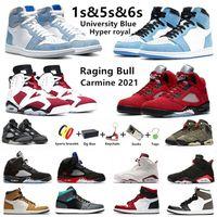 air Jordan University Blue 1s chaussures de basket-ball hommes jumpman 1 Hyper Royal Carmine 6s Raging Bull 5s Shadow Twist Alternate hommes formateurs baskets de sport avec boîte
