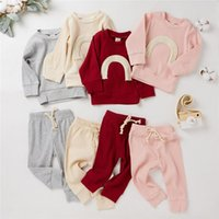 Clothing Sets Infant Spring Autumn Born Boys Girls Rainbow Print T-shirts+Pants Leggings Ribbed Knitted Tracksuits Outfits