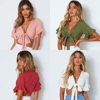4 цвета женские футболки мода повседневный лук глубокий V-образным вырезом сексуальный лотос листьев кромки с коротким рукавом футболка