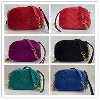 Hohe Qualität Frauen Herz Stil Samt Handtaschen Goldkette Umhängetaschen Crossbody Soho Bag Disco Messenger Geldbörse Brieftasche 6 Farben