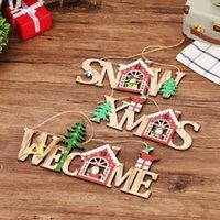 Merry Christmas Benvenuto Bordo di Natale Natale decorazione della porta della parete Pendente in legno pendente sospeso segno ornamento casa finestra indoor arredamento all'aperto OWF8575