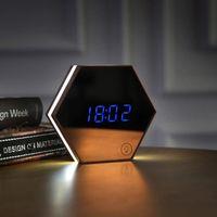 Yükseltme Moda Ayna ve LED Çalar Saat Dokunmatik Kontrol Gece Işıkları Ekran Elektronik Masaüstü Dijital Masa Saatleri Vanity 199 V2