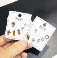 Brand Stud earrings statement Earrings for men women 3 Pairs  lot Titanium steel key leaf animal Rhinestone DFF4282