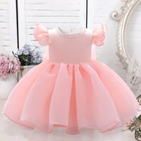 Girl's Dresses 2021 Born Clothing Baptism 3 2 1 Year Birthday Dress For Baby Girl Beads Princess Party Toddler Infant Clothes