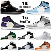 Женщины Мужчины Высокие ОГ Баскетбольные Обувь Унисекс 1S Mid Chicago Royal Toe Черный Металлический Золотой Сосна Зеленые Чернокожих Патентные кроссовки Кроссовки Размер EUR36-45