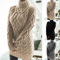 Casual Dresses Women Turtleneck Twist Knitted Long Sleeve Warm Sweater Autumn Winter Mini Dress Plus Size Clothes For Female