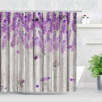 Retro Plancia di legno Viola Lavanda Backdrop Showdrop Tende da doccia Fiori Farfalla Impermeabile Decorazioni da bagno Decorazione da bagno Set di tenda da bagno