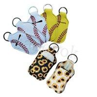 Baseball-Softball-Neopren-Cover Desinfizizer-Halter für 30 ml-Flip-Kappe Reisegröße Flasche Chapstick-Flaschen mit Keychain