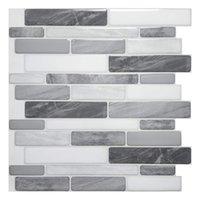 Art3D 30x30cm 3D Wandaufkleber Grau Marmor Design Selbstklebende Wasserdichtschale Und Stick Backsplash Fliesen für Küchenbadezimmer, Tapeten (10 Blätter)