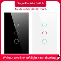 Smart Home Control Touch Switch Life Glass Panel Wall With Night Fluorescence Indicator Light Single Live Wire No Neutral