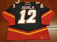 Vente en gros Jarome Custom Iginla Vintage Calgary Flames pas cher Koho Hockey Jersey Troisième Cheval Noir Jers Retro Jerseys