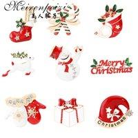 Claus Meirenpeizi 메리 크리스마스 브로치 핀 귀여운 산타 모자 장갑 종소리 양말 도넛 캔디 에나멜 핀 Badg