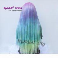 Larga seda recta sirena arco iris color Ninguna encaje encaje frente peluca belleza pastel rosa púrpura azul verde colorido tono anime cosplay fiesta peluca