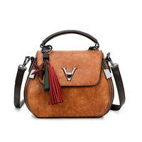 2019 Summer Women v Letters Saffiano Handbags Genuine Leather Office Tote Bag Bolsa Feminina Ladys Vintage Flap Makeup