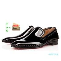2021 Mens Red Bottom Shoes Designers Low Plat Rivets Homme Business Banquet Robe Chaussure Luxurys Suisse Patentes Spikes Véritable Styliste Cuir
