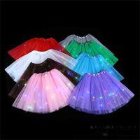 Sommerrock mit dekorativen Lichtern Glühen Licht emittierende Halblangen Gaze Rock LED-Licht Tutu Kleid Party Kinder Urlaub Kleid Rock Cl