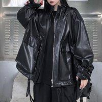 Leather Jacket Japanese Korean Style Loose 2021 Autumn Long-sleeved Coat Women Punk Rock Jackets Tide Pocket Outwear Women's