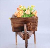 1PCS Wooden Cart Flowerpot Creative Fleshy Ornamental Bedroom Window Household Garden Plants Flowers Pot Wheelbarrow Planter 1837 V2