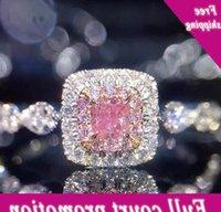 Nice Brand-New Luxus Schmuck Keybone 925 Sterling Silber Princess Cut Pink 5A Zirkonia CZ Frauen Bruiloft Engagement Band Ring