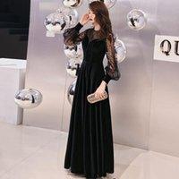 Party Dresses Beauty Emily Evening Dress Black Dot Print Long Gowns Simple Full-sleeves Floor Length Wedding Formal