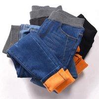 Women's Jeans 2021 Winter Warm Velvet Women Plus Size Stretchy Slim High Waist Pants Female Fashion Skinny Pencil Denim Trousers