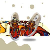 الرجال عارضة الانزلاق على قماش حذاء رياضة النفط الطلاء مخصص أحذية خاصة اليدوية المطاط المسطح وحيد الأصفر كل مباراة الأزياء أحذية YH00088