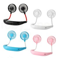 Hand Free Fan Sports Portable USB Rechargeable Dual Mini Air Cooler Summer Neck Hanging Fan Party Favor Sea Shipping RRA4236