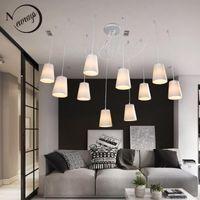 Современная мода большие паутины плетеные люстры белые черные ткани оттенки 10 огней висит кластеров потолочная лампа гостиной