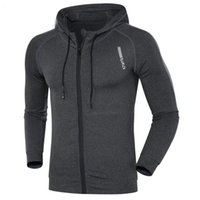 Men Running Jacket Sports Fitness Long Sleeves Hooded Tight Coat Gym Soccer Basketball Outdoor Training Jogging Hoodie Clothes