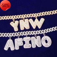 Custom Name Baguette Letters Bracelets Anklet 10MM Cuban Chain Pendants Necklaces Hiphop Zircon Jewelry gifts for men women
