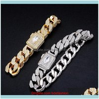 Cuff Jewelryhip Hop Claw Setting Cz Stone Bling Iced Out Solid Square Cuban Curb Miami Link Chain Bangles Bracelets For Men Rapper Jewelry D