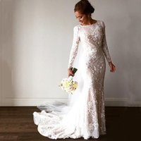 Vintage Scoop Neck Long Sleeves Lace Mermaid Wedding Dress Bridal Gowns with Flower Applqius Sweep Train Bride Dresses