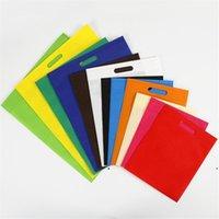 Neue nicht gewebte flache Taschentasche Vliesstoff wiederverwendbare Einkaufstasche mit mehreren Größe Folding Einkaufstasche Tragbare Geschenk Aufbewahrungstasche DHF255